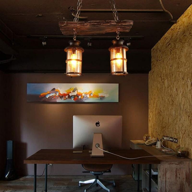 Rétro À L'ancienne Chandelier Lustre Lumières Industriel Vent Creative Bar Comptoir Décoration Café Restaurant E27 * 2 En Bois Massif Lumières Suspendues Réglable en hauteur