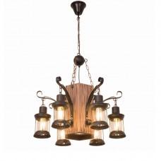 Lustre rétro,  Loft Industriel Suspension en bois Lampe suspendue décorative en métal Hauteur réglable E27 Rétro en bois pendentif pour cuisine salle à manger Bar Restaurant Salon Café