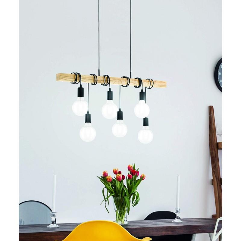 Lampe de suspension E27 Noir de chêne ,Plafonnier, Métal, Bois/Noir