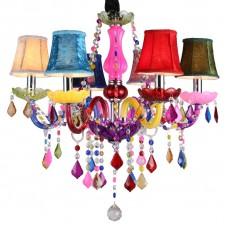 Lustre vintage coloré à 6 flammes - lustre moderne plafonnier lampe suspension cristal avec abat-jour
