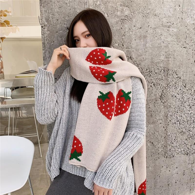 Écharpe chaude de couleur unie fraise hiver couverture élégant long châle Wrap