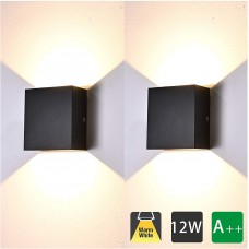12W Moderne Applique Murale Interieur, 2 Pcs Aluminium Led Lampe Murale Blanc Chaud 3000K Appareils d'éclairage pour le Salon, Chambre, Salle de Bains, Cuisine, Salle à manger (Noire)